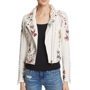 Blank NYC white embroidered leather jacket